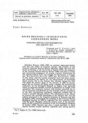 Špiro Brusina i istraživanje Jadranskog mora