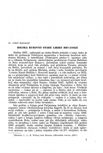 Bolska rukovet stare lirike hrvatske / Vatroslav Jagić; prir. Josip Badalić