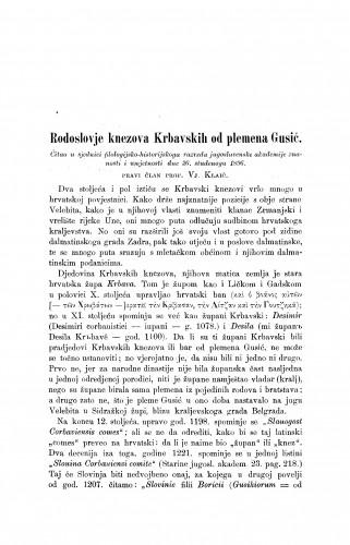Rodoslovje knezova Krbavskih od plemena Gusić