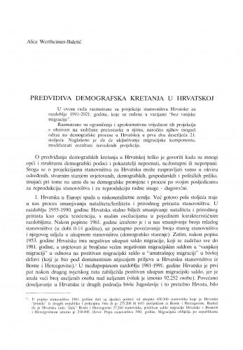 Predvidiva demografska kretanja u Hrvatskoj