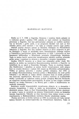 Radoslav Katičić : [biografije novih članova Akademije]