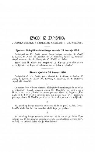 Izvodi iz zapisnika Jugoslavenske akademije znanosti i umjetnosti [1870] : RAD