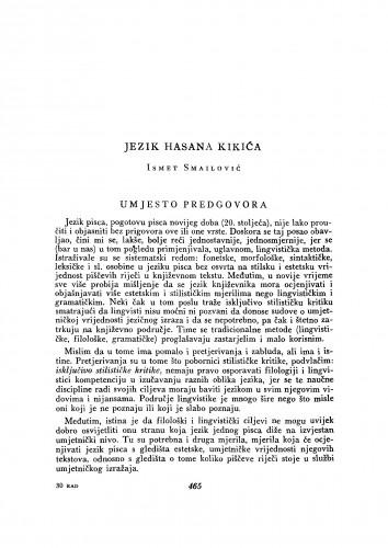 Jezik Hasana Kikića