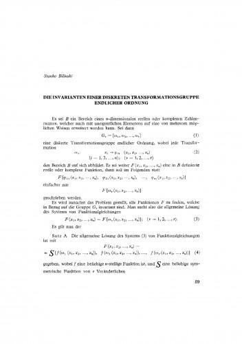 Die Invarianten einer diskreten Transformationsgruppe endlicher Ordnung