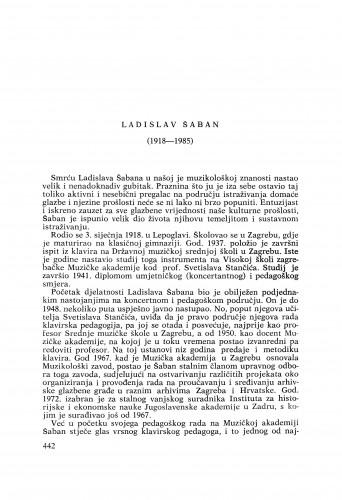 Ladislav Šaban (1918-1985) : [nekrolozi] / Ivan Supičić