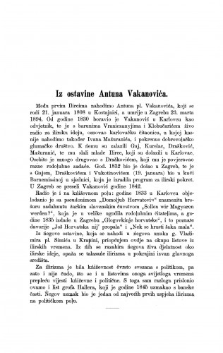 Iz ostavine Antuna Vakanovića / Milivoj Šrepel