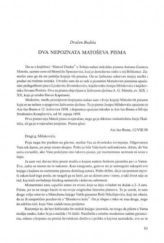 Dva nepoznata Matoševa pisma / Dražen Budiša
