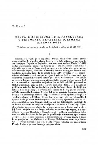 Urota P. Zrinskoga i F. K. Frankopana u prigodnim hrvatskim pjesmama njihova doba / Tomo Matić