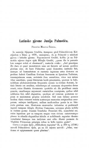 Latinske pjesme Junija Palmotića : Građa za povijest književnosti hrvatske