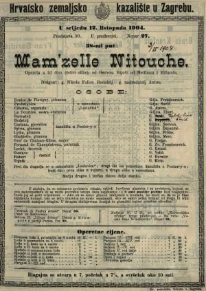 Mam'zelle Nitouche opereta u tri čina (četiri slike) / od Hervéa