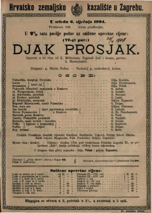 Djak prosjak opereta u tri čina / od K. Millöckera
