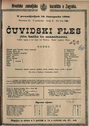 Čuvidski ples velika opera u tri čina / od Verdi-a  =  Un ballo in maschera