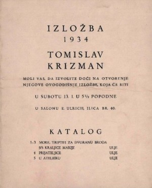Izložba 1934 Tomislav Krizman