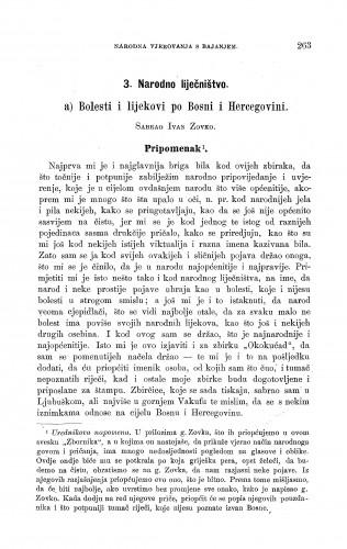 Bolesti i lijekovi po Bosni i Hercegovini : narodno liječništvo : Zbornik za narodni život i običaje