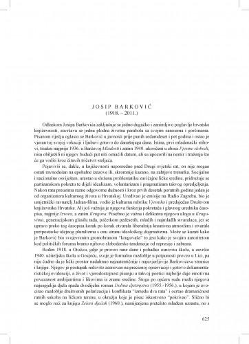 Josip Barković (1918.-2011.) : [nekrolog] : Ljetopis