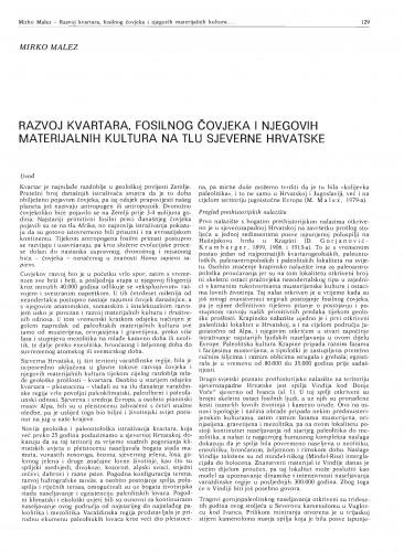Razvoj kvartara, fosilnog čovjeka i njegovih materijalnih kultura na tlu sjeverne Hrvatske