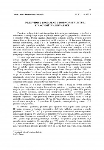 Predvidive promjene u dobnoj strukturi stanovništva Hrvatske