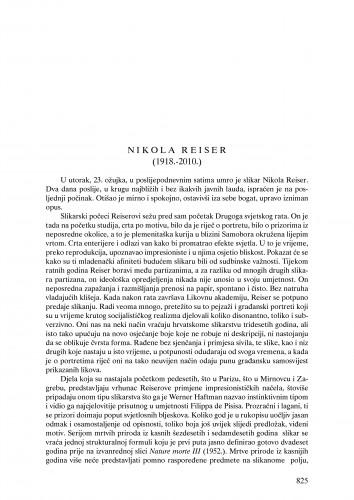 Nikola Reiser (1918.-2010.) : nekrolog : Ljetopis