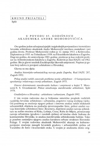 U povodu 85. godišnjice akademika Andre Mohorovičića : Radovi Zavoda za znanstveni rad Varaždin