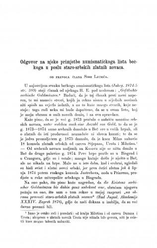 Odgovor na njeke primjetbe numismatičkoga lista bečkoga u poslu staro-srbskih zlatnih novaca : RAD