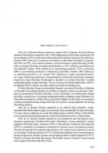 Branko Despot : Ljetopis