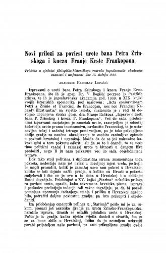 Novi prilozi za poviest urote bana Petra Zrinskoga i kneza Franje Krste Frankopana / Radoslav Lopašić