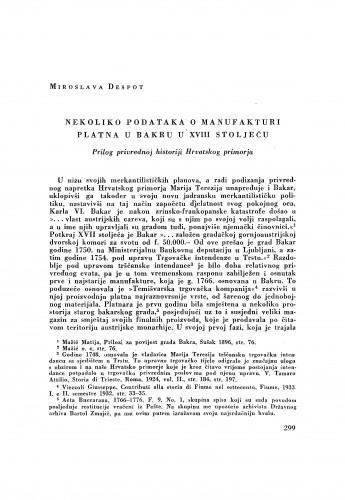 Nekoliko podataka o manufakturi platna u Bakru u XVIII stoljeću / Miroslava Despot