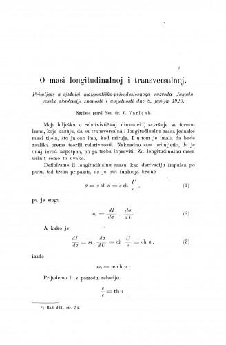 O masi longitudanalnoj i transversalnoj