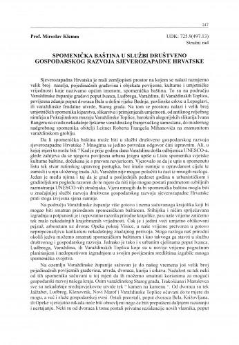 Spomenička baština u službi društveno gospodarskog razvoja sjeverozapadne Hrvatske