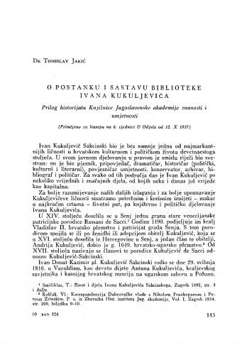 O postanku i sastavu biblioteke Ivana Kukuljevića