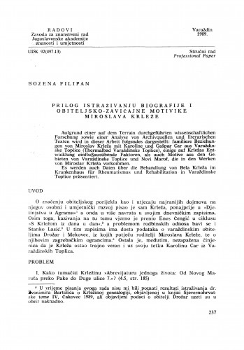Prilog istraživanju biografije i obiteljsko-zavičajne motivike Miroslava Krleže : Radovi Zavoda za znanstveni rad Varaždin