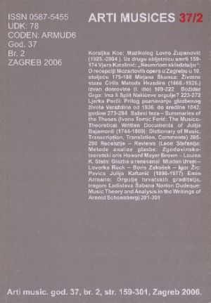 God. 37(2006), br. 2 : Arti musices