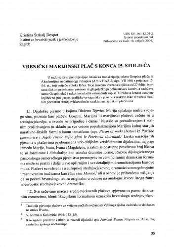 Vrbnički marijinski plač s konca 15. stoljeća : Građa za povijest književnosti hrvatske