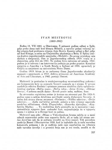 Ivan Meštrović (1883-1962) : [nekrolog] / J. Miše