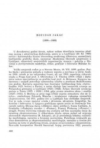 Božidar Jakac (1899-1989) : [nekrolozi] / Vinko Zlamalik