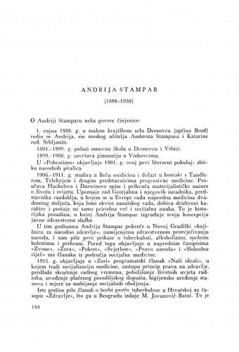 Andrija Štampar (1888-1958) : [nekrolog] ; [nekrolog] / B. Kesić