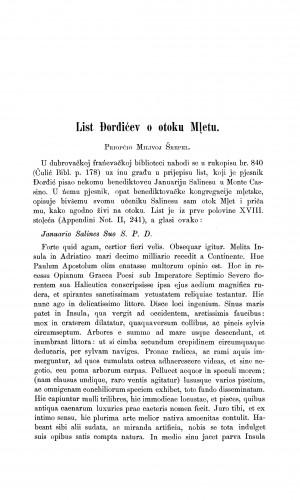 List Đorđićev о otoku Mljetu : Građa za povijest književnosti hrvatske
