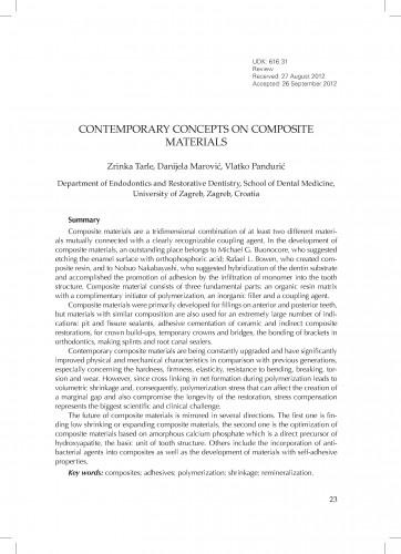 Contemporary concepts on composite materials / Zrinka Tarle, Danijela Marović, Vlatko Pandurić.