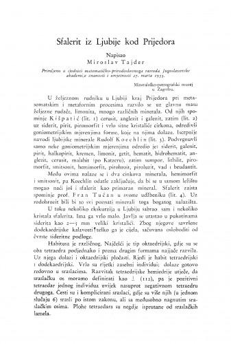 Sfalerit iz Ljubije kod Prijedora