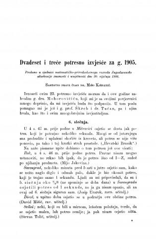 Dvadeset i treće potresno izvješće za g. 1905.