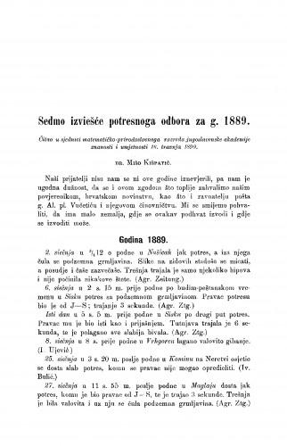 Sedmo izviešće potresnoga odbora za g. 1889.
