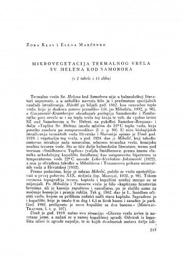 Mikrovegetacija termalnog vrela Sv. Helena kod Samobora