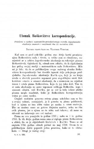 Ulomak Boškovićeve korespondencije