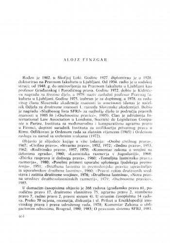 Alojz Finžgar : [biografije novih članova Akademije]