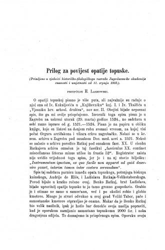 Prilog za povijest opatije topuske / Emilije Laszowski