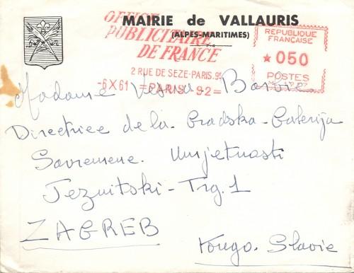 Omotnica službenog poziva na proslavu 80-tog rođendana Pabla Picassa gradonačelnika Vallaurisa P. Derigona Vesni Barbić
