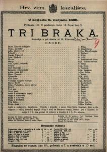 Tri braka Komedija u pet činova / od M. Primorca
