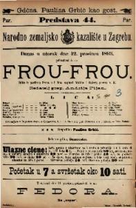 Frou-Frou Slika iz parižkog života u 5 čina / napisali Meilhac i Halevy