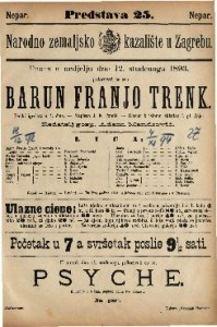 Barun Franjo Trenk pučki igrokaz s pjevanjem i plesom u 4 čina / Napisao J. E. Tomić