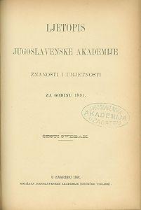 Za godinu 1891. Sv. 6 : Ljetopis